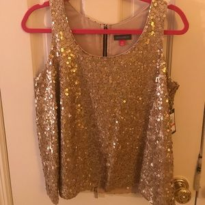 NWT Vince Camuto gold sequin shirt